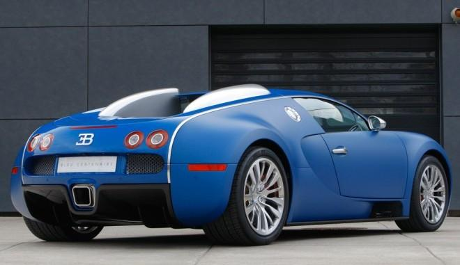 Right Rear Blue Bugatti Veyron Centenaire Car Picture
