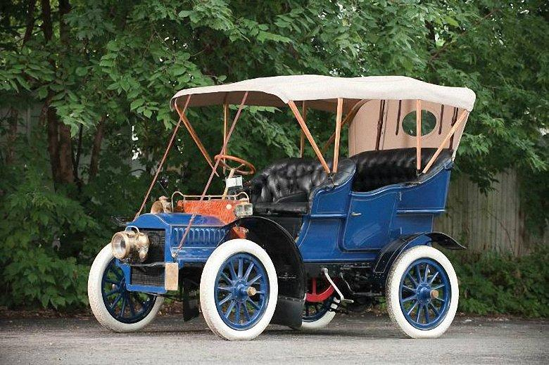 Front Left Blue 1904 Cadillac Model F Touring Car Picture