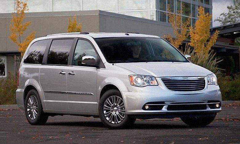 Front Right Silver 2012 Chrysler Town & Country Minivan Picture