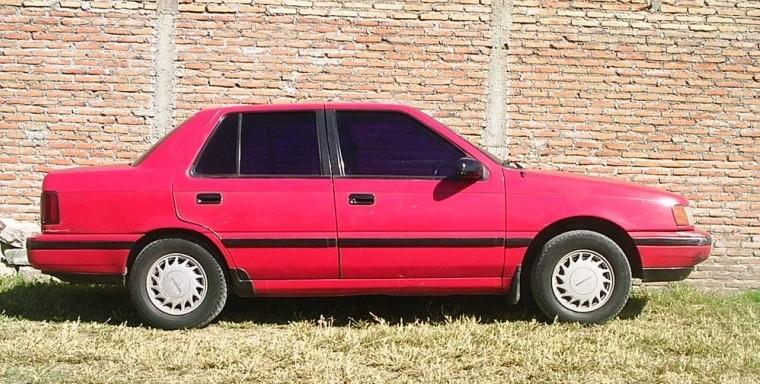 Right Side Red 1990 Hyundai Excel Car Picture