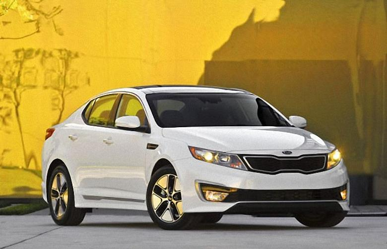 Front Right White 2012 Kia Optima Hybrid Car Photo