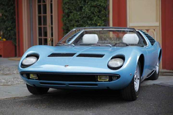 Front View Blue 1968 Lamborghini Miura car Picture