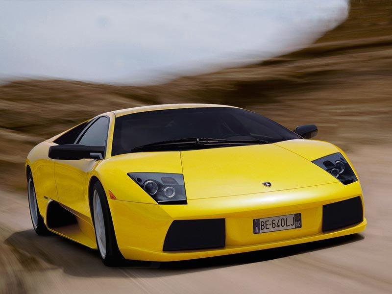 Front Right Yellow Lamborghini Murcielago Car Picture