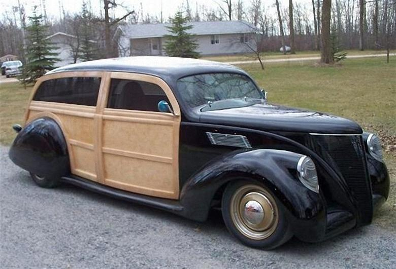 Front Right Wood 1937 Lincoln Zephyr Wagon Picture