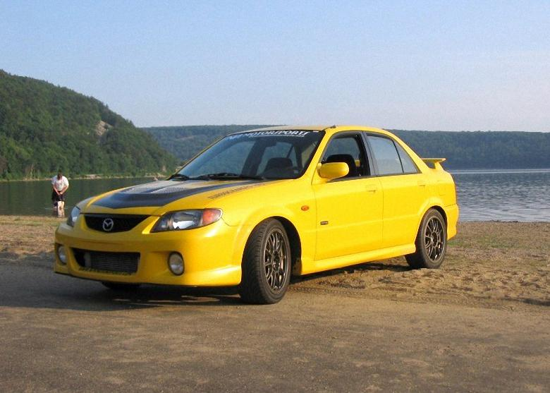Front Left Yellow 2001 Mazda Protege Car Picture