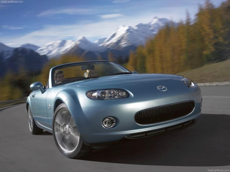 Front Right Sky Blue 2008 Mazda MX-5 Car Picture