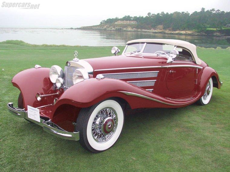 Front left Maroon 1935 Mercedes-Benz 540K Special Roadster Car Picture