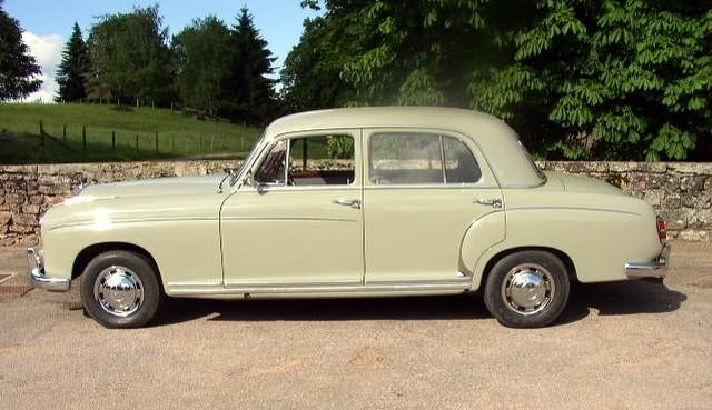 Left Side Cream Colored 1959 Mercedes-Benz 220S Berline Car Picture