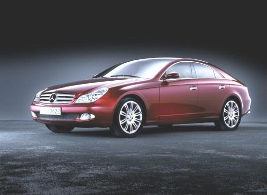 Front left 2003 Maroon Mercedes-Benz CLS Car Picture