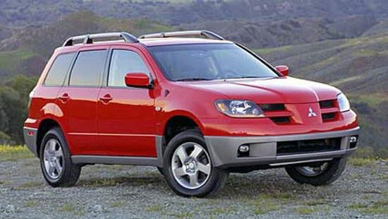 Front Right Red 2002 Mitsubishi Outlander SUV Picture