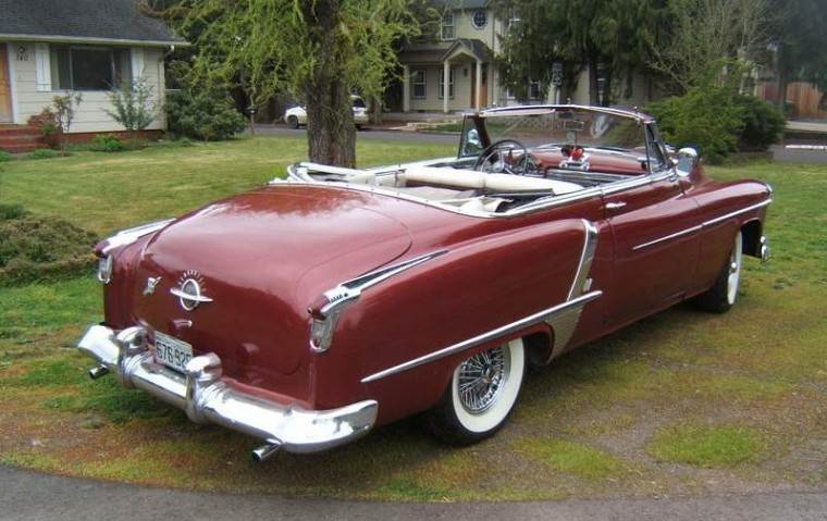 Rear Right Maroon 1951 Oldsmobile 88 Convertible Car Picture