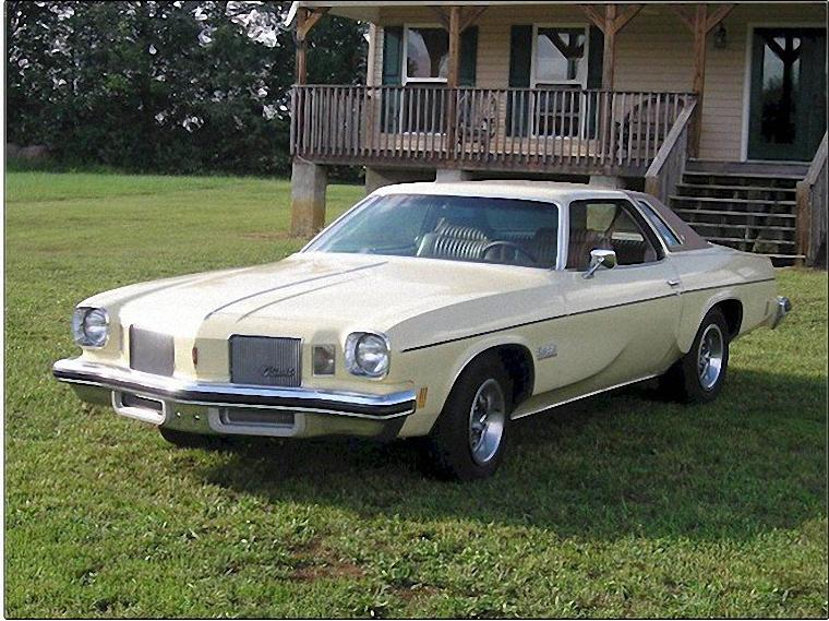 Front Left Cream Colored 1974 Oldsmobile Cutlass Car Picture