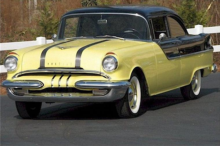 Front Left Yellow and Black 1955 Pontiac Chieftain Catalina Car Picture