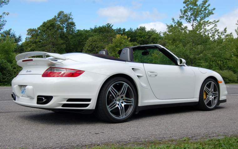 Rear Right White 2008 Porsche 911Turbo Cabriolet Car Picture